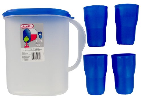 Sterilite 5 Piece Beverage Set (Plastic Beverage Pitcher compare prices)