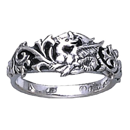 Sterling Silver Dragon Intricate Scroll work Ring