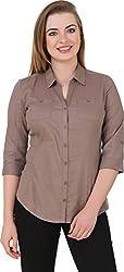 Petipack Women's Slim Fit Shirt (PP038, Brown, Large)