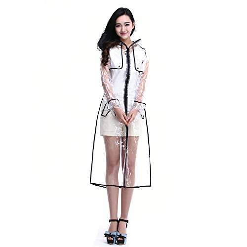 Sunward Fashion Women Transparent EVA Raincoat Outdoor Travel Waterproof (Black)