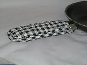 Black Gingham Fry Pan Handle Cover Set of 2