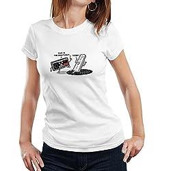 Fanideaz Women's Cotton Mixed Polyester Gaming Joysticks T Shirt_White_L