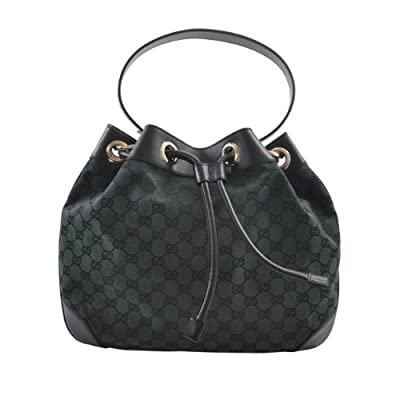 Authentic Gucci Black & Green Canvas Leather Trimmed Logo Accents Bucket Bag