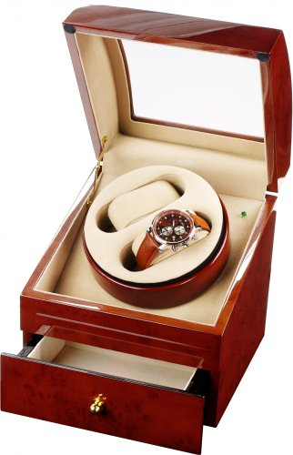 Auer Accessories Ares 721DB Watch Winder For 2 Watches Dark Burlwood