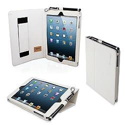 Snugg Leather Case with Flip Stand for Apple iPad Mini/Mini 2 (White)