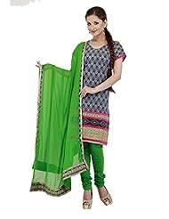 Utsav Fashion Women's Blue Cotton Readymade Churidar Kameez-Large - B015UDQC3K