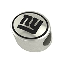 New York Giants Silver NFL Bead Fits Most European Style Charm Bracelets
