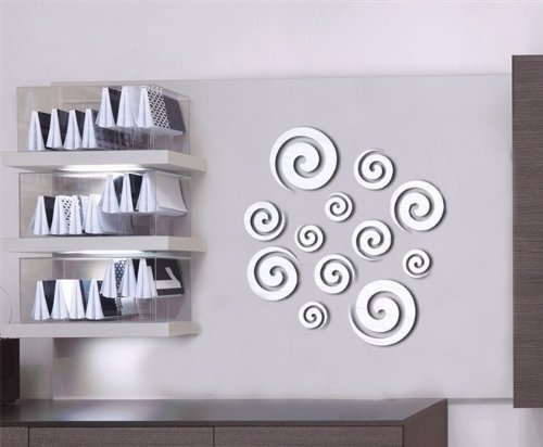 DH LLC 3D Shining Acrylic Mirror Wall Sticker Decoration Decor