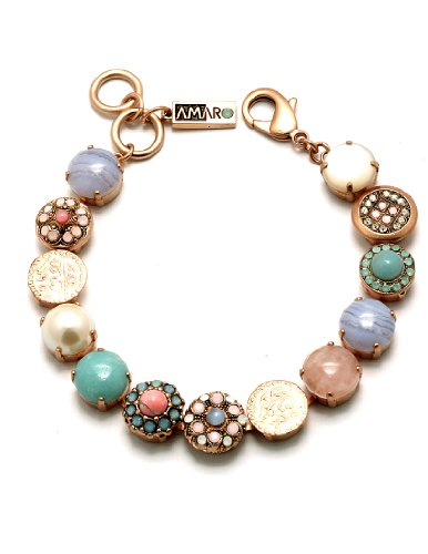 Amaro Jewelry Studio 'Flow' Collection Stunning Bracelet with Flower and Coin Links Set with Rhodonite, Amazonite, Mother of Pearl, Pearls, Sapphirine, Pink Quartz, Swarovski Crystals; 24K Rose Gold Plated