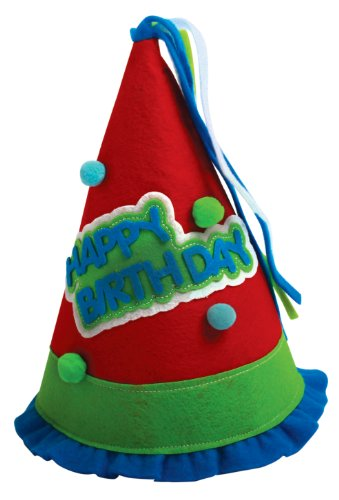 Party Partners Design Ruffled Felt Happy Birthday Hat, Red/Blue/Green