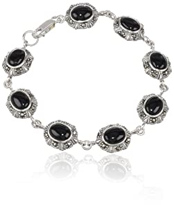 Sterling Silver Marcasite and Onyx Ovals Bracelet, 7.5""