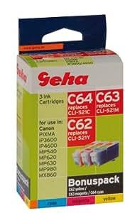 3 Geha Tintenpatronen im Multipack für Canon ersetzt Nr. CLI-521 farbig