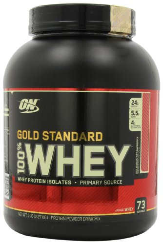 Optimum Nutrition 100% Whey Gold Standard, Delicious Strawberry, 5-Pound