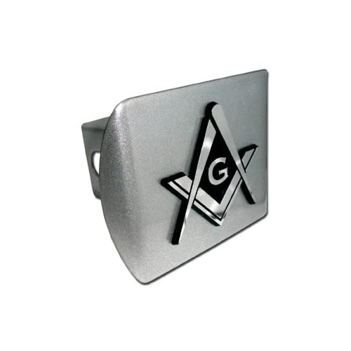Mason Square Compass Chrome & Brushed Silver Finish with Masonic Freemason Fraternal Emblem Metal Trailer Hitch Cover Fits 2 Inch Auto Car Truck Receiver