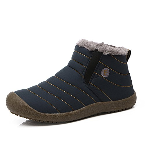 SITAILE Women Men Unisex Couple Waterproof Snow Boots With Fur Fashion Winter Shoes
