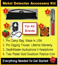 Metal Detector Accessory Kit (Gold Value Kit): Includes Depthmaster Audiophone Ii Metal Detector Headphone, Pro Digging Trowel, Pro Carry Bag And A Two Reale Gold Doubloon Replica Coin.