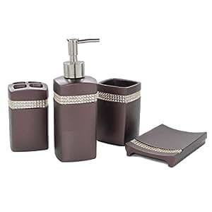 Dream Bath Star Radiance Bath Ensemble 4 Piece Bathroom Accessories Set Luxury Bath Accessories Set Soap Dispenser/Toothbrush Holder/Tumbler/Soap Dish