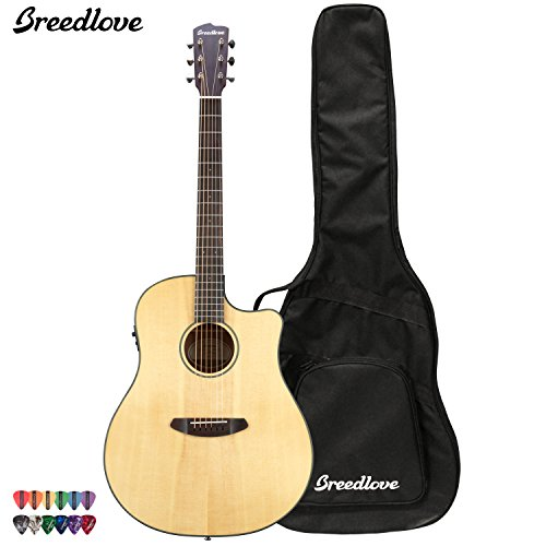 Breedlove Discovery Dreadnought Ce Acoustic Electric Guitar With Chromacast 12 Pick Sampler And Breedlove Gig Bag