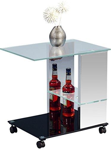 HomeTrends4You-560086-Beistelltisch-Glas-edelstahl-schwarz-40-x-55-x-54-cm