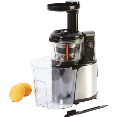 Auger Juicer - Silent Low-speed , Size - 11-1/4 Inches X 16-5/8 Inches X 6-3/4 Inches - With Brushed Stainless Sides and Cleaning Brush