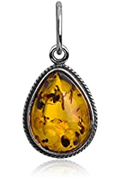 Sterling Silver Amber Drop Small Charm Pendant