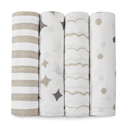 aden + anais Kids Classic Swaddle 4 Pack, Shine On, One Size - 1