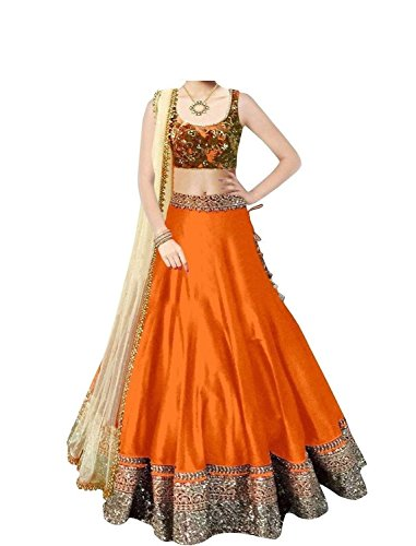 Ladies4Zone-Designer-Womens-orange-cotton-designer-bollywood-style-lehenga-partywear-lehengaheavy-embroidered-lehenga