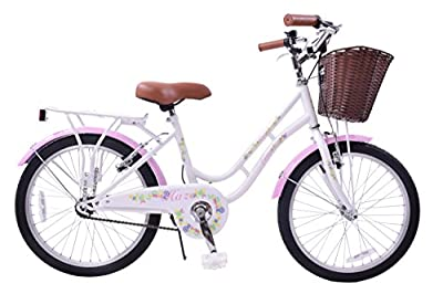"Ammaco Haze Traditional 20"" Wheel Girls Bike Basket 13"" Frame Classic Dutch Shopper Style Heritage White / Pink Age 7+"