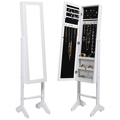 Mirrored Jewelry Cabinet Capacity Armoire Mirror Storage Organizer Box Ring Stand White Sonoma 4 Shelf Bookcase