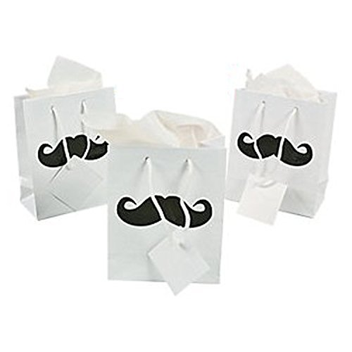 Small Mustache Gift Bags - 12 Pc Mustache Party Bags