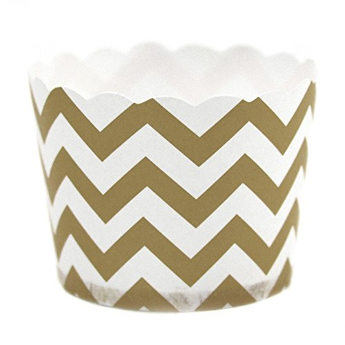 Dress My Cupcake Chevron Party Candy Cups, Set Of 24, Gold (Popcorn Bag Cupcake compare prices)
