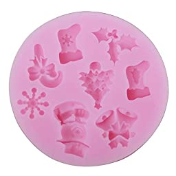 niceeshop(TM) Christmas Tree Snowflakes Shape DIY Cake Decorating Fondant Silicone Sugar Craft Molds,Random Color