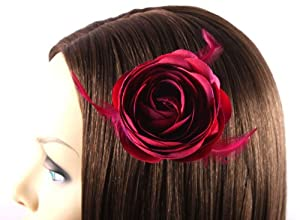 Dark Red Rose Pedal with Feathers Hair Clip
