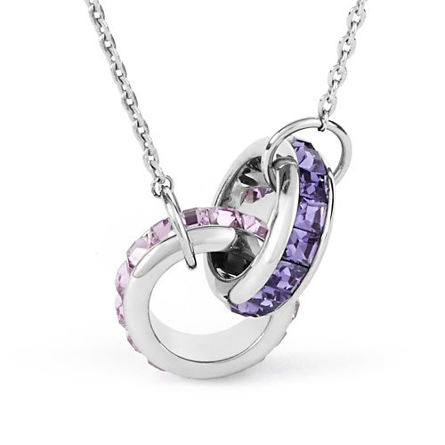 Brosway Women's Necklace in White Steel with Violet Swarovski, Line Romeo and Juliet, Cm 48, 10 Grams
