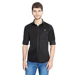 FlyJohn Black Cotton Silk Men's Shirt