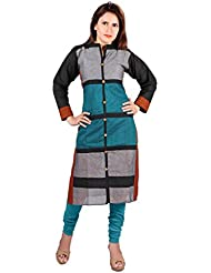 Nextar Women's Teal Cotton Long Kurti