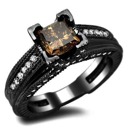 Sale 1.25ct Brown Princess Cut Diamond Engagement Ring 14k Black Gold Rhodium Plating Over White Gold