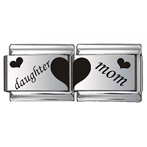 Daughter and Mom Double Link Laser Italian Charm (Italian Charm Bracelet Mom compare prices)