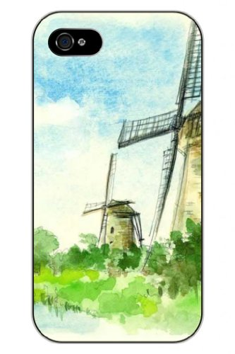 Sprawl New Fashion Design Hard Skin Case Cover Shell For Mobilephone Apple Iphone 5 5S--Lovely Painting Of Windmill