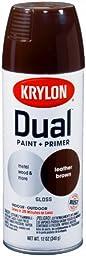 Krylon 8812 \'Dual\'  Paint and Primer 12-Ounce  Aerosol, Gloss Leather Brown