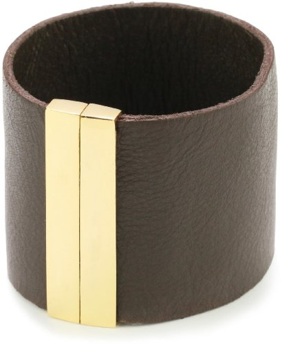 Accessories & Beyond Brown Leather Cuff With Magnetic Clasp