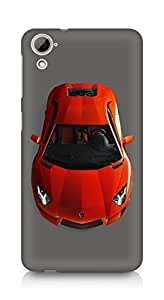 Amez designer printed 3d premium high quality back case cover for HTC Desrie 826 (Pretty red Lamborghini)