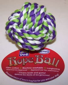 Vo-Toys Cotton Rope Chew Ball 3.5in Dog Toy Assorted Colors