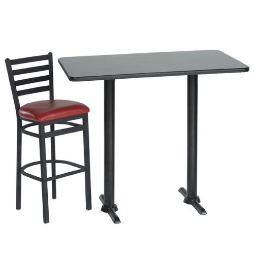 Rectangular Lunch Room Table with Two Stools Red Vinyl Seat/Graphite Nebula Table Top/Black Frame