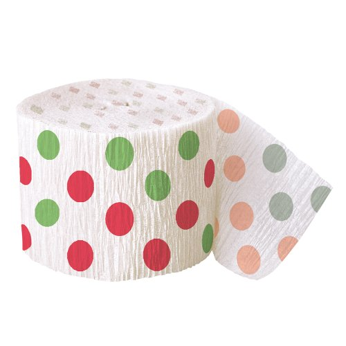 30ft Red & Green Polka Dot Christmas Crepe Paper Streamers (Party Decorations Crepe Paper compare prices)