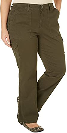 Gloria Vanderbilt Plus Hana Cargo Pants 24W Fresh olive green at
