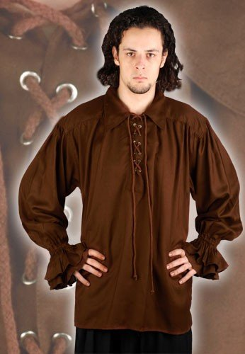 John Cook Renaissance Pirate Shirt - Chocolate, Grösse:XL