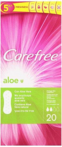 Carefree Aloe - Proteggi-Slip Traspiranti - Contiene Aloe Vera Natural,  5 Benefici Di Freschezza  - 20 Pezzi
