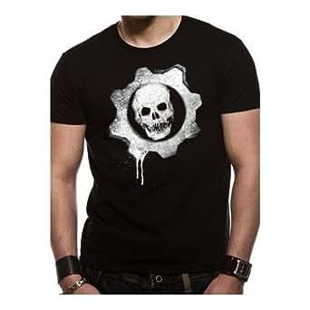 "T-Shirt Homme Noir Gears Of War 3 ""Dripping Wheel"" (Taille S)"