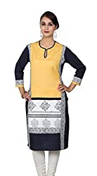 Black and Yellow Printed 3/4 Sleeves Kurta